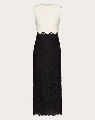Valentino Crepe Couture And Heavy Lace Dress Women Ivory/black Cotton 34%, Viscose 43% 42