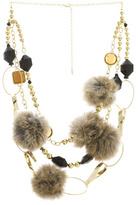 Fur And Rhinestone Necklace