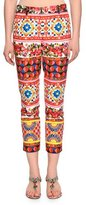 Dolce & Gabbana Membo-Print Straight-Leg Ankle Pants, Red/Yellow/Blue