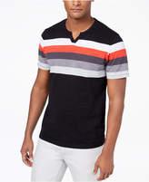 INC International Concepts Men's Striped Split Neck T-Shirt, Created for Macy's