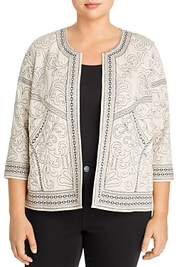 Daniel Rainn Plus Embroidered Open-Front Jacket