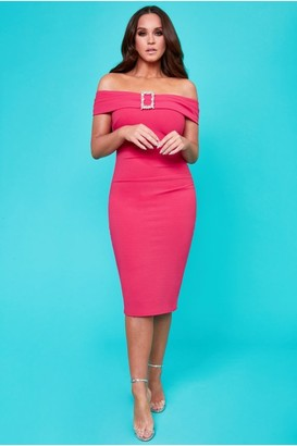 Linzi Goddiva Vicky Pattison Cerise Buckle Bardot Midi Dress