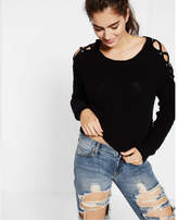Express lace-up cold shoulder pullover