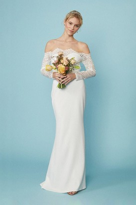 Coast Long Sleeve Lace Bardot Bridal Maxi Dress