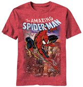 Marvel Spiderman Men's Spiderscene T-Shirt, Red Heather,Small