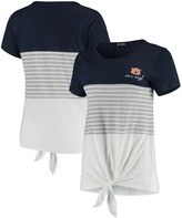 Unbranded Auburn Tigers Why Knot Colorblocked Striped Knotted T-Shirt - Navy