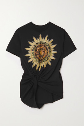 Paco Rabanne Knotted Printed Cotton-jersey T-shirt - Black