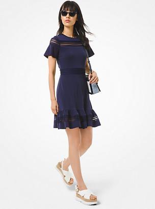 Michael Kors Crepe Jersey and Mesh Ruffled Dress