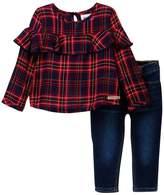 Hudson Plaid Shirt & Jeans Set (Baby Girls)