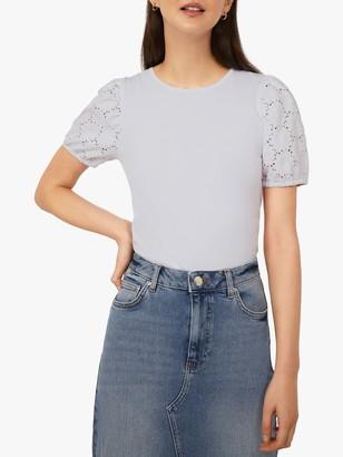Warehouse Broderie Short Sleeved Top, White