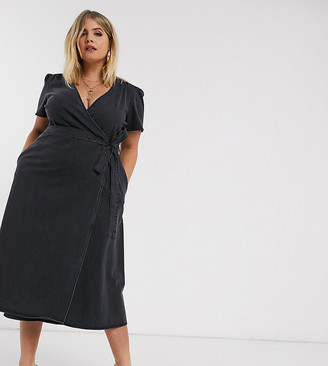 Asos DESIGN Curve denim wrap midi dress in black