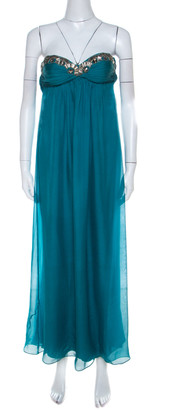 Temperley London Teal Blue Silk Chiffon Strapless Embellished Gown S