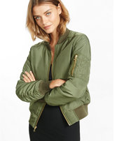 Express olive puffer bomber jacket