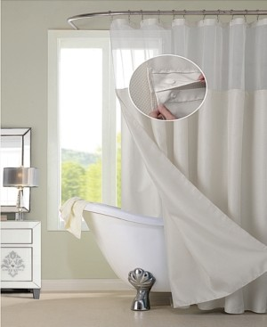 Spa 251 Waffle Complete Shower Curtain With Detachable Liner Bedding