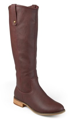 Brinley Co. Womens Extra Wide Calf Faux Leather Mid-calf Round Toe Boots