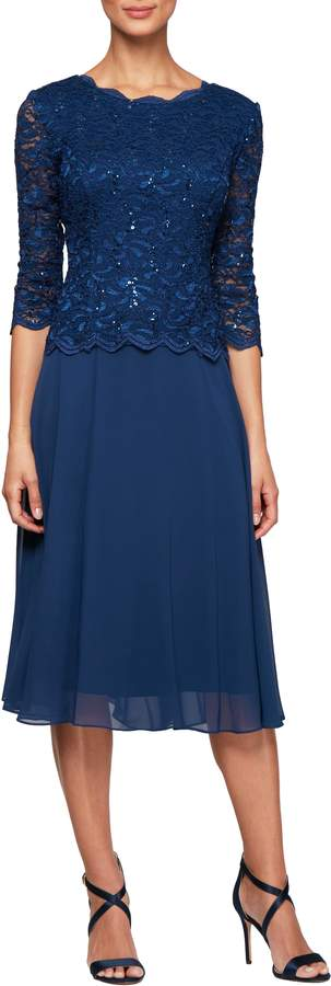Alex Evenings Mock Two-Piece Tea Length Dress