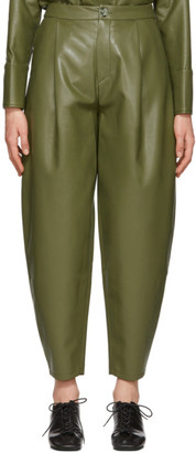 Áeron Green Faux-Leather Fran Trousers