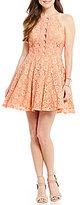 Jodi Kristopher High Neck Spaghetti Strap Open-Back Cutout Two-Tone Lace Skater Dress
