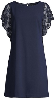 Aidan Mattox Lace Sleeve Trapeze Dress