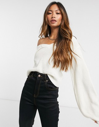 AX Paris v neck cropped sweater in white