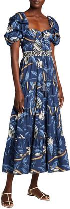 Johanna Ortiz Botanical Heritage Long Floral Crepe Dress