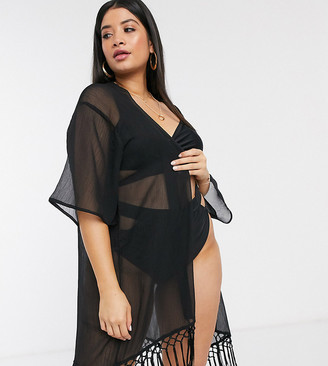 Brave Soul Plus sheer beach kimono with tassel hem