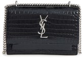 Saint Laurent Mini Monogram Sunset Croc Embossed Leather Shoulder Bag - Black