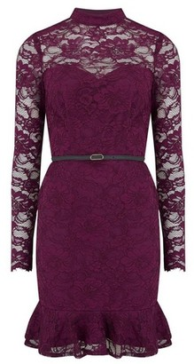Dorothy Perkins Womens Paper Dolls Wine Lace Belted Dress
