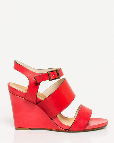 Le Château Italian Made Leather Strappy Wedge