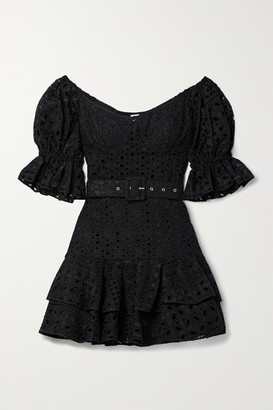 Charo Ruiz Ibiza Jean Off-the-shoulder Belted Broderie Anglaise Cotton-blend Mini Dress - Black