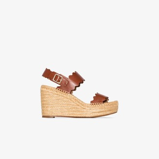 Chloé brown Lauren 60 leather espadrille wedge sandals