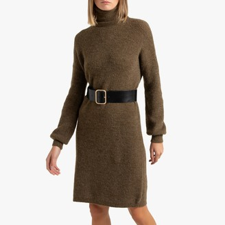 La Redoute Collections Short Shift Jumper Dress with Turtleneck and Long Sleeves