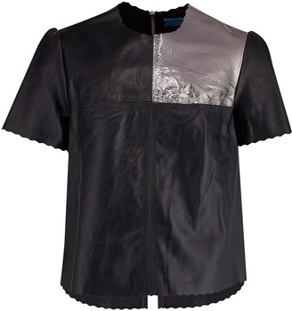 Manley Boxter Leather T-Shirt - Black & Silver