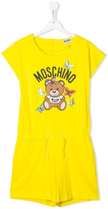 MOSCHINO BAMBINO Drawstring Waist Teddy Logo Playsuit