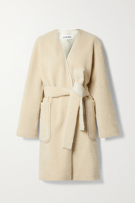 Loewe Belted Leather-trimmed Shearling Coat - Cream