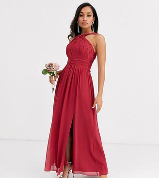 Little Mistress Petite halter neck split maxi dress-Red