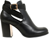 Yours Clothing Black Cut Out Heeled Ankle Boots With Buckle In E Fit