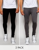 Asos 2 Pack Extreme Super Skinny Joggers