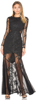 Donna Mizani Embroidered Mermaid Gown in Black. - size S (also in XS)