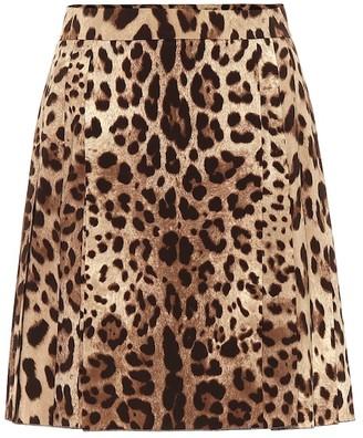 Dolce & Gabbana Leopard-print stretch-wool skirt