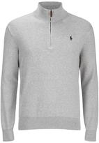 Polo Ralph Lauren Half Zip Cotton Knitted Jumper Dove Grey