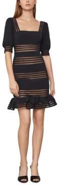 BCBGMAXAZRIA Sheer-Stripe Mini Dress