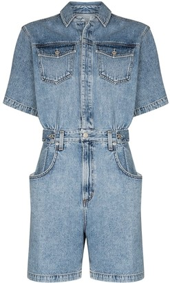 AGOLDE Button-Up Denim Playsuit