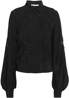 Antonio Berardi Paneled Lace And Silk Crepe De Chine Blouse