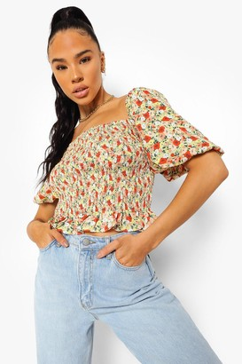 boohoo Floral Print Shirred Top