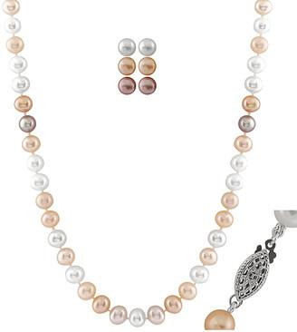 Splendid Pearls Rhodium Plated 7-8Mm Freshwater Pearl Necklace & Earrings Set