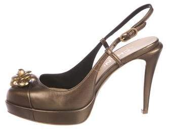 Chanel Metallic Camellia Pumps