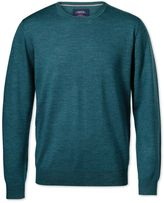 Charles Tyrwhitt Teal Merino Crew Neck Wool Sweater Size XXL