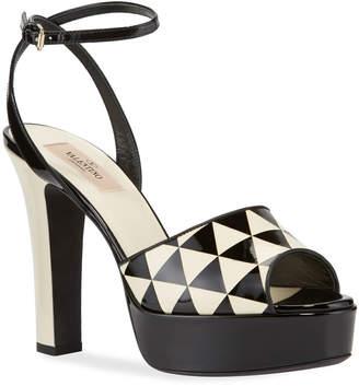 Valentino Garavani Checkered Leather Peep-Toe Platform Sandals