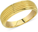 Esquire Men's Jewelry Ribbed Band in 14k Gold, Only at Macy's